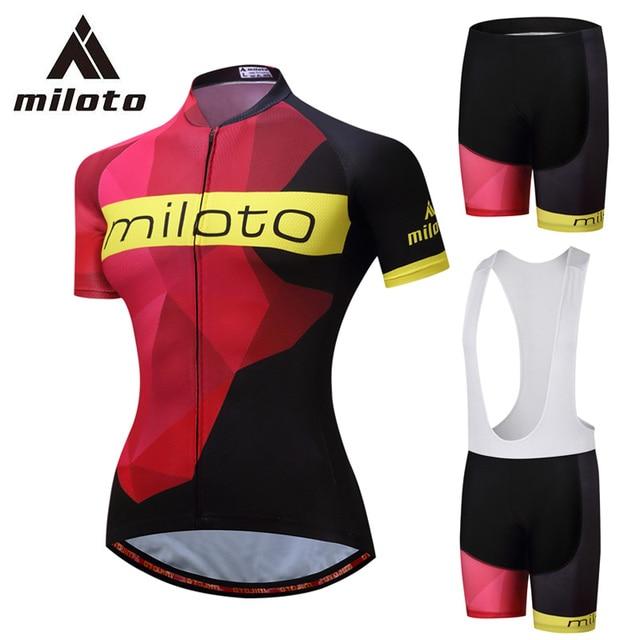 MILOTO Cycling Jersey Women Summer Set Sport Wear MTB Mountain Road Bike  Bicycle Clothing Kits Silicon Gel Pad 5XL Bib Shorts 42bb01d29