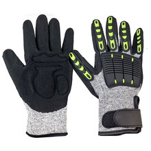 NMSafety Anti Vibration Oil and Gas Safety Glove Fluorescent Nylon Shock Absorbing Mechanics Impact Resistant Work Glove