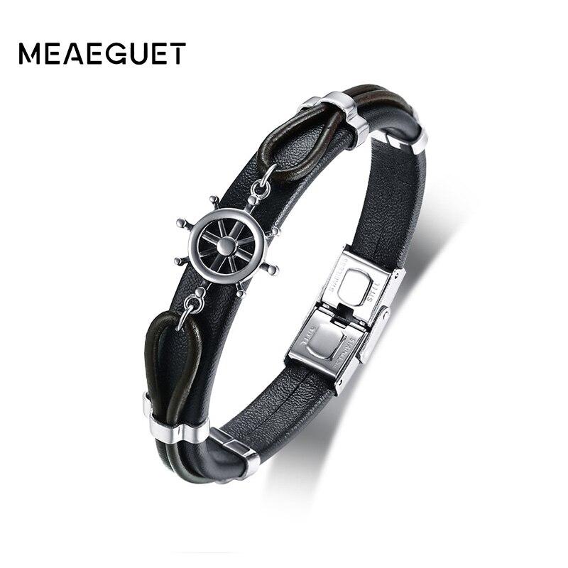 Meaeguet Trending Genuine Leather Rudder Charm Bracelets Bangle Stainless Steel Bracelet Wristband For Men Best Love Navigation alloy anchor rudder leather friendship love couple charm bracelet