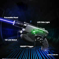 JSHFEI 青色レーザー 450nm 10000 メートル銃レーザーポインター focusable の燃焼長距離レーザーペンフィールド機器の電源