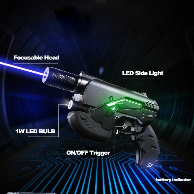 JSHFEI blue laser 450nm 10000meters gun laser pointer focusable burning Long range laser pen field equipment power