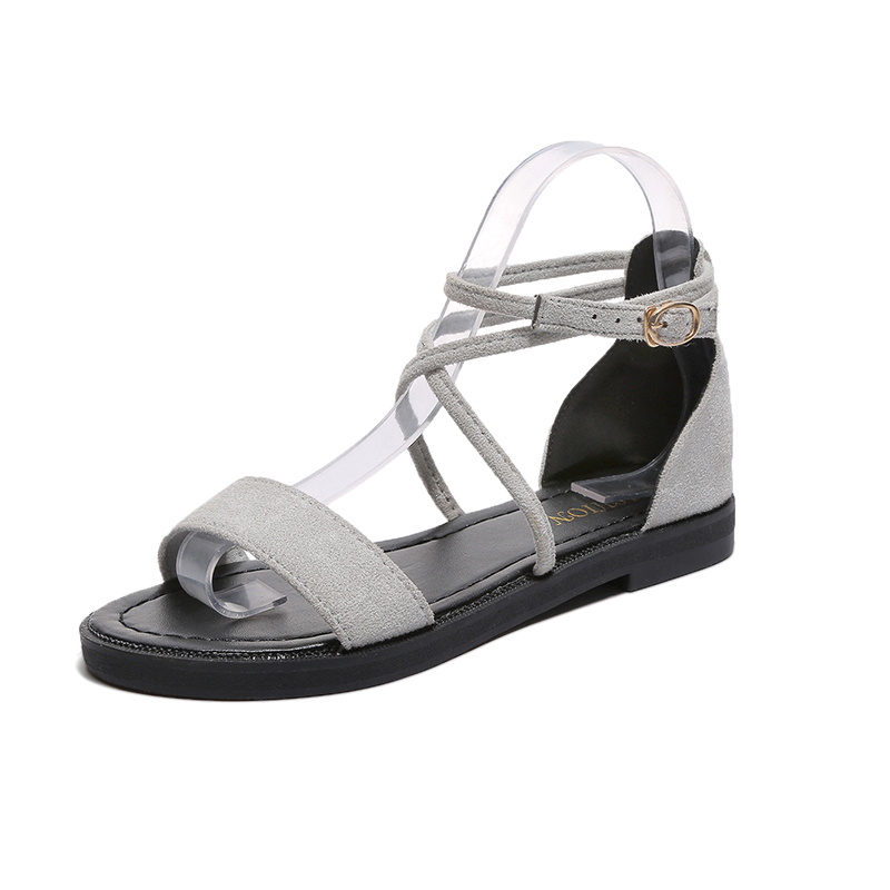 Women Sandals Block Square Heels Open Toe Casual Summer Suede Ankle Strap Cross Buckle strap Flip Flop Suede Ladies Sandals cross cross suede wedge sandals