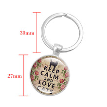Keychain with Silver Letter of Keep Calm and Love Cats