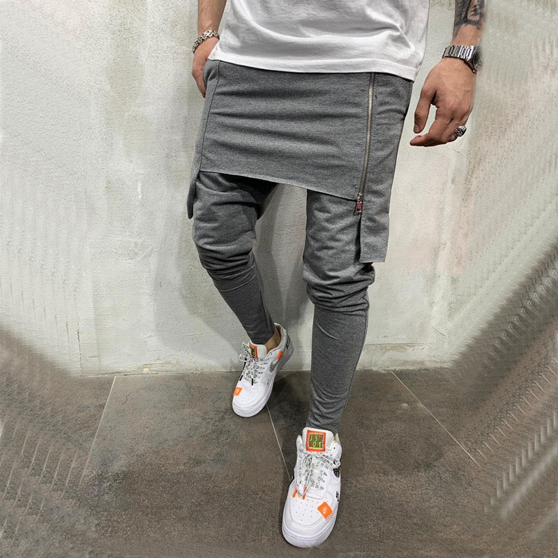 2020 Spring Autumn Mens Harem Pants Elastic Waist Stripe Pockets Casual Loose Drop Crotch Trousers Men Streetwear Hip-hop Pants