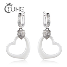 New Elegant Rhinestone Heart Love Stud Earrings Women Over Size Shape Pendant Ceramic Long Pendientes Jewelry