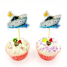 10pcs/lot Birthday Cupcake Toppers Ocean Ship Cardboard Toothpick Detachable Baby Shower Baking Cupcake Decoration Supplies(China)