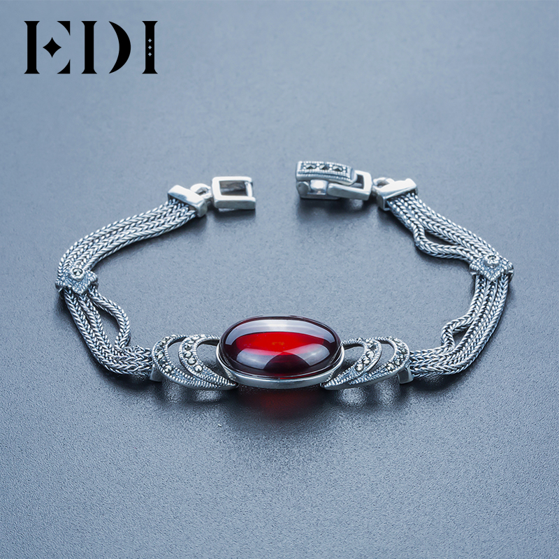 EDI Brand 925 sterling silver Green Red chalcedony agate DIY bracelets For Women Thai silver Fine jewelry ethnic wind bracelets men and women decorations green agate 925 silver ball duobao string original jewelry