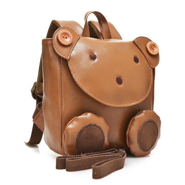 2016 Корея Милый Медведь Анти-потерянный Малый Кожаный Рюкзак детей школьные сумки для мальчиков девочек дети bagpack Mochilas Infantis 1-3Y
