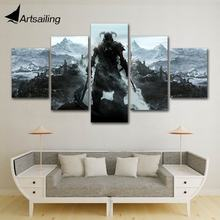 ArtSailing 5 panels Modular the elder scrolls v skyrim Poster Wall Art art For Pictures Living Room Canvas Painting