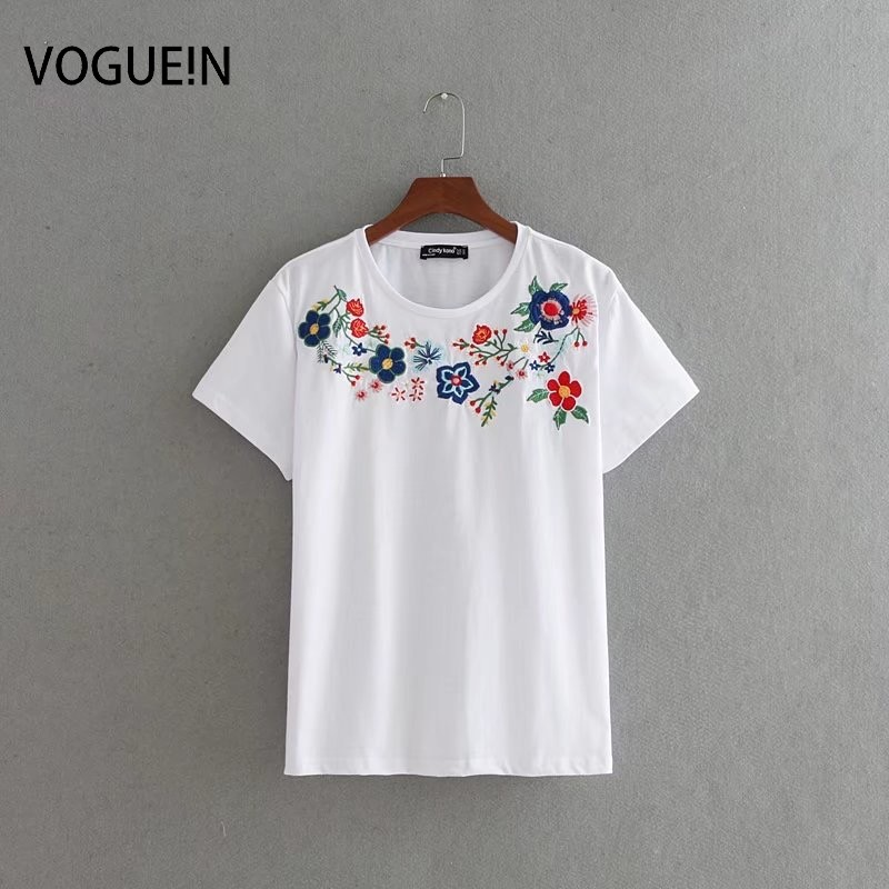 VOGUEIN New Womens Ladies Floral Embroidered Short Sleeve White T-Shirt Tee Shirt Size SML Wholesale