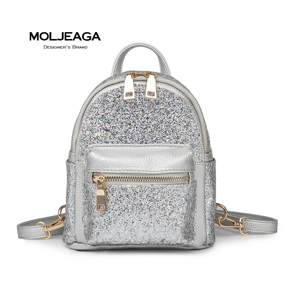 MOLJEAGA Brand Women Silver Backpack Glossy Backpacks For Teenage Girls Holographic PU Leather Bag Students School Bags mochila аксессуар для волос brand new 2 lot hairdisk