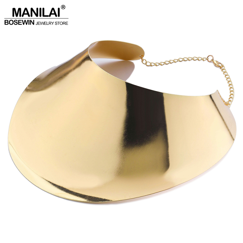 MANILAI Fashion Alloy Big Torques Statement Necklaces For Women Large Collar Choker Necklace Boho Design Steampunk Style Jewelry manilai trendy metal hollow torque choker necklaces women indian punk geometric collar statement necklace jewelry accessories