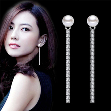AAA CZ Zircon Pearl long Earrings Women Female Silver Color Ear Line Threader Chain Long Drop Wholesale Jewelry