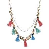 2016 New Hot Fashion Handmade Silk Tassel Pendant Maxi Necklace Women Double Layer Coins Tassel Bijoux