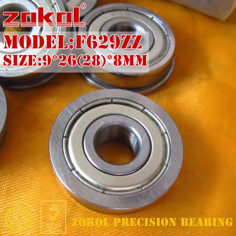 ZOKOL F629 ZZ Bearing F629ZZ Flange Bearing F629-ZZ Deep Groove Ball Bearing 9*26(28)*8mm