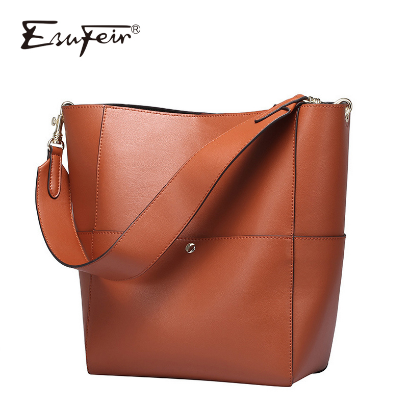 2016 ESUFEIR Brand Genuine Leather Women Handbag Large Capacity Women Bucket Bag Fashion Women Shoulder Bag
