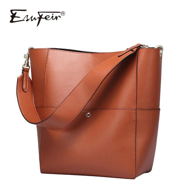 6b97f499c6e69 2016 ESUFEIR marki naturalnej skóry kobiet torebki duża pojemność kobiet  torba wiadro mody kobiet torba na
