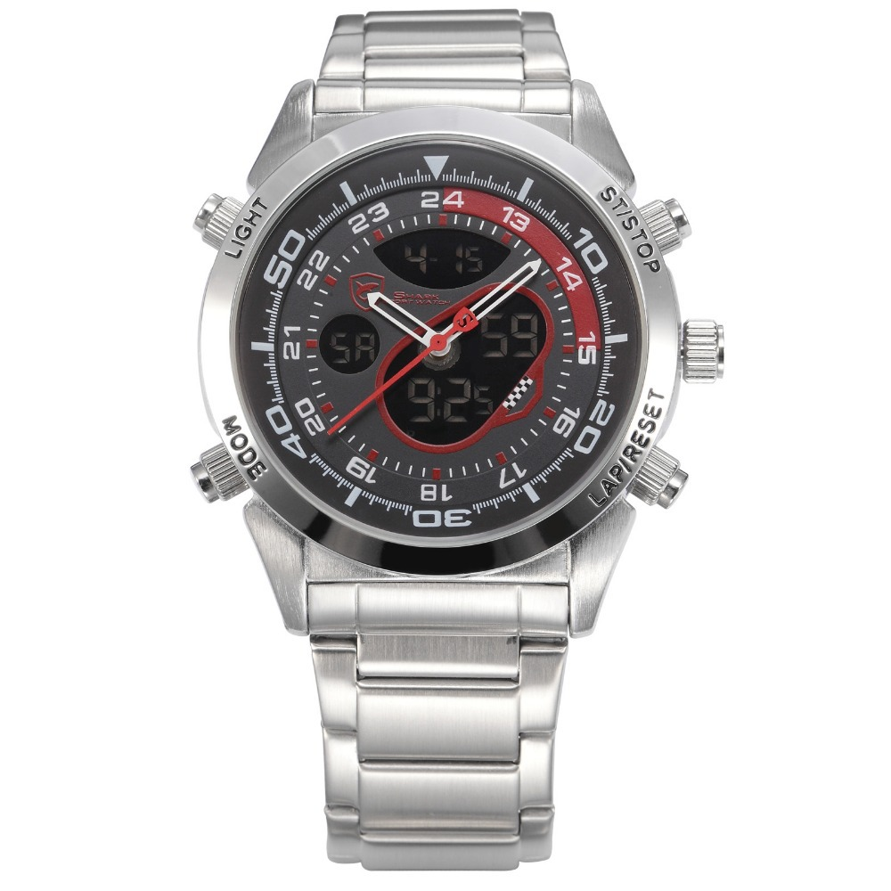 Snapper Shark Sport Watch Dual Time Black Red Dial Auto Date Alarm Watch Stainless Steel Strap Digital Men Quartz Clock / SH149 top brand luxury digital led analog date alarm stainless steel white dial wrist shark sport watch quartz men for gift sh004