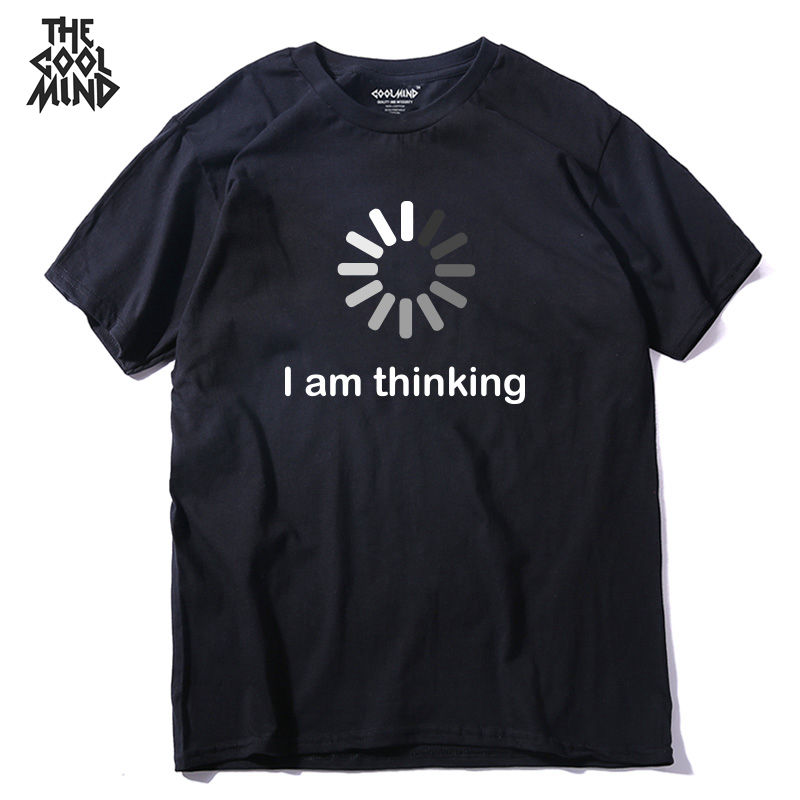 THE COOLMIND 2018 new design comfortable kintted I'm thinking printed men T shirt casual o-neck short sleeve summer mens T-shirt