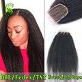 Дешевые Бразильские Kinky Прямая Закрытия Шнурка 3.5X4 Девственница Закрытие Человеческие Волосы Отбеленные Узлы Бесплатный Средний 3 Часть Кружева топ Закрытия