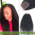 Cheap Brazilian Kinky Straight Lace Closure 3.5X4 Virgin Human Hair Closure Bleached Knots Free Middle 3 Part Lace Top Closure