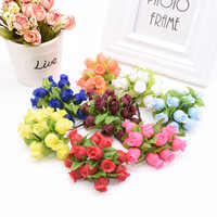144Pcs High Quality Silk Artificial Flowers Mini Rose Bouquet DIY Wreath Scrapbooking Wedding Home Decoration