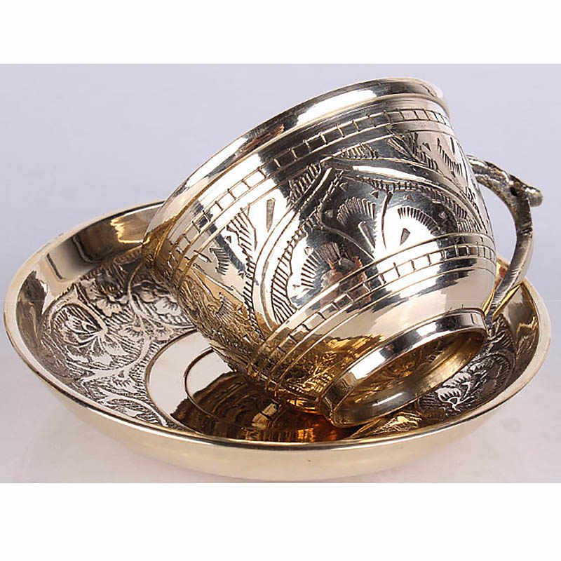 a460ea27ce7 ... India Coffee Cups Saucer Sets handmade engraving brass Coffee cup  Arabic Indian Copper Tea Cup with