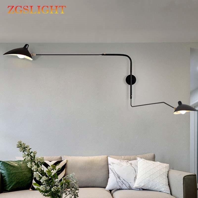 Rétro Loft industriel Vintage noir blanc mur LED lampes Designer français rotatif appliques murales pour la décoration de la maison