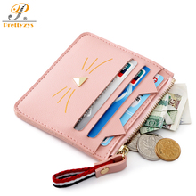 3febeec804 Prettyzys Woman Credit Card Holder Cash Coin Cat Wallet Kaarten Business  Card Protector Id Organizer Female Cute Cover 90s Girl