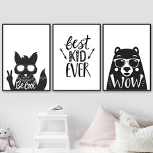 Black White Fox Bear Nursery Quotes Nordic Posters And Prints Wall Art Canvas Painting Animal Pictures Baby Kids Room Decor