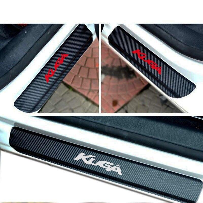 4PCS carbon fiber vinyl sticker Car Door Sill Scuff Plate for FORD KUGA Parts Accessories dedc 4pcs car door sill scuff welcome pedal protect carbon fiber stickers accessories