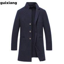 Мужские шерстяные Пальто шерсть бизнес случайный куртка 2017 Новый стиль Мужчины Долго Кашемировые Пальто двусторонняя шерстяные траншеи Пальто Мужчины