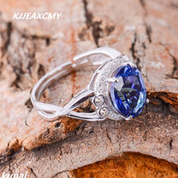 KJJEAXCMY Fine Jewelry Wholesale Custom Ladies STERLING SILVER RING 925 Silver Inlay Tanzania Color Topaz Ring