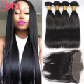Lace Frontal Closure with Bundles Malaysian Virgin Hair with Closure Malaysian Straight Hair Ear To Ear 13x4 Full Lace Frontal