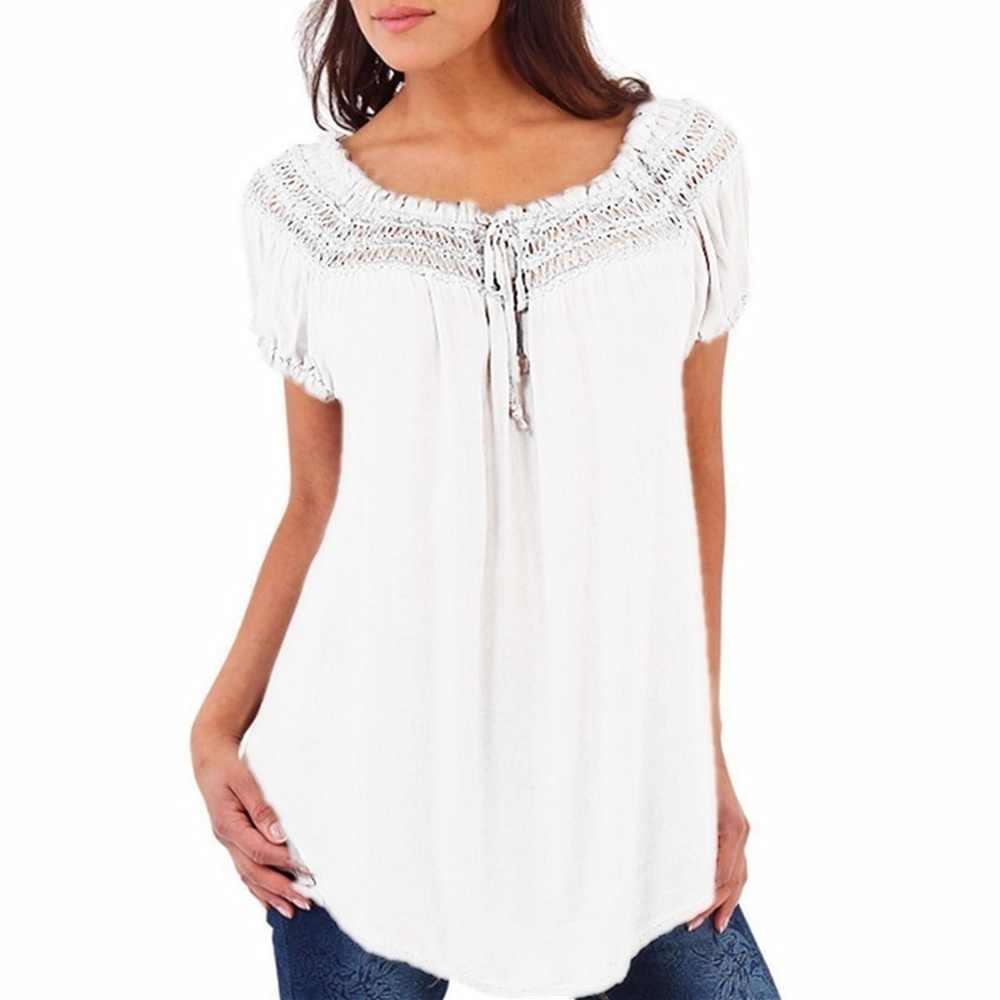 2018 新女性のファッションプラスサイズルーズ V ネックレースパッチワーク半袖トップス 6 色の女性のシャツ