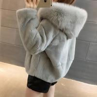 Natural Rex Rabbit Fur Coats Women Hooded Winter Real Fur Jackets Plus Size