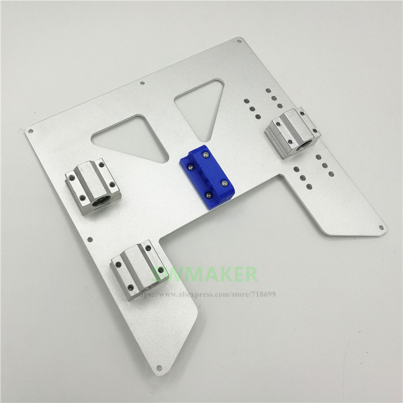 SWMAKER Upgrade Y Carriage Anodized Aluminum Plate With Belt Holder +Igus Drylin RJ4JP-01-08 Block Kit For Anet A8 A6 3D Printer