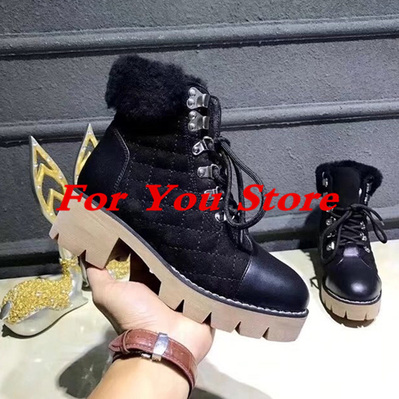 Women Winter Warm Boots Round Toe Short Booties Front Lace Up Snow Boots Med Heel Women Shoes Luxury Brand Metal Decor Star Boot booties combat lace up flat suede round toe fall military front casual ankle boots autumn work women shoes gray low heel 2017