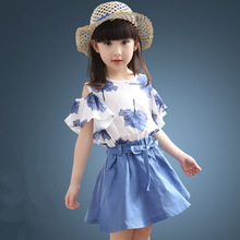 Maple Leaf Pattern School Girl Shirt and Skirt Set Summer Sexy Teenage 4 5t To 12Y Child Casual Blouse Set Drop Shoulder Sleeve цена 2017