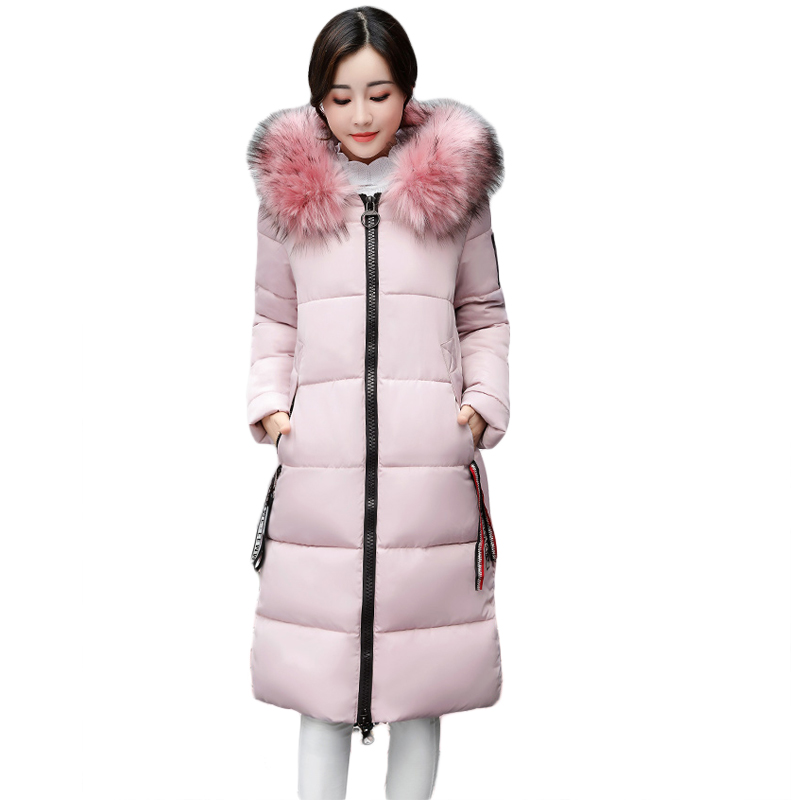 2017 New Winter Jacket Women Long Slim Large Fur Warm Hooded Down Cotton Parkas Thick Female Wadded Coats Plus Size 3XL CM1763 winter feather cotton women outwear long section thick section slim hooded coats large fur collar large size down jacket lx165