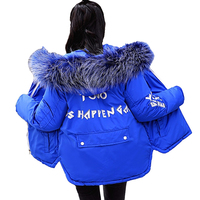 Students short jacket winter parkas print Cotton jacket Thicken warm women Hooded tops Plus size female Swallowtail Cotton coats