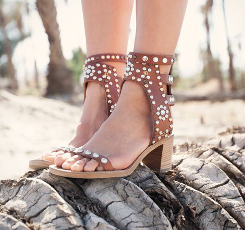 Party Shoes Gladiator Newest Fashion Women Shoes Hot Sale Ankle Cut-out Sexy Crystal Rivets Sandels Thick Heel Open Toe Summer fashion summer lace up women sandels cut outs open toe low wedges bohemian beach shoes white black ankle strap shoes for women