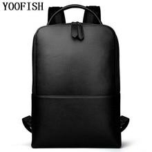YOOFISH  Men Backpacks Genuine Leather Men's Travel Bag Fashion Man Backpack Casual Business Backpack for 15 Inch Laptop  LJ-925 все цены