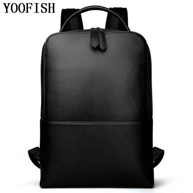 0305f42c73 YOOFISH Men Backpacks Genuine Leather Men's Travel Bag Fashion Man Backpack  Casual Business Backpack for 15 Inch Laptop LJ-925