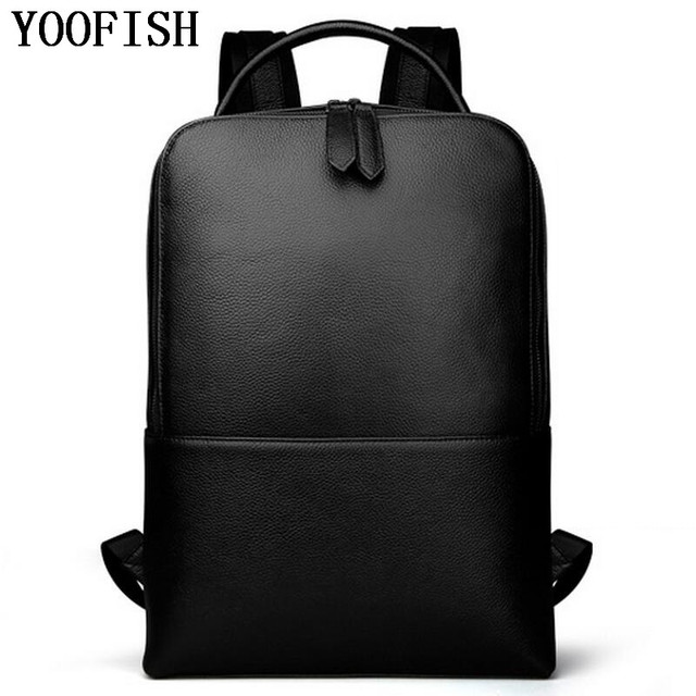 79eee45fd3 YOOFISH Uomini Zaini Borsa Da Viaggio degli uomini del Cuoio Genuino Moda  Uomo Zaino Business Casual