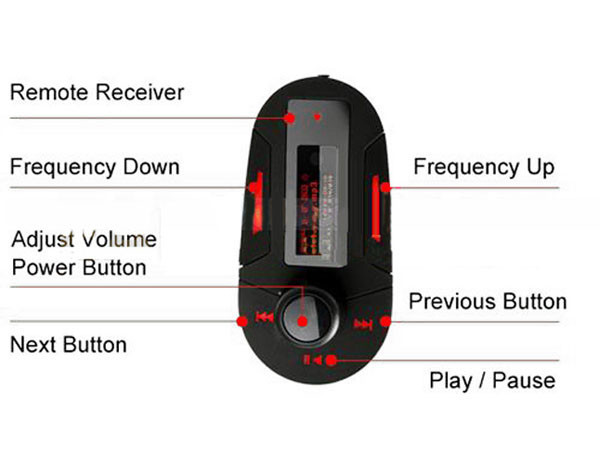 Remote Control Red Light LCD Car MP3 Player Wireless FM Transmitter Modulator With Support USB+ SD+MMC+Fuse+Car Audio