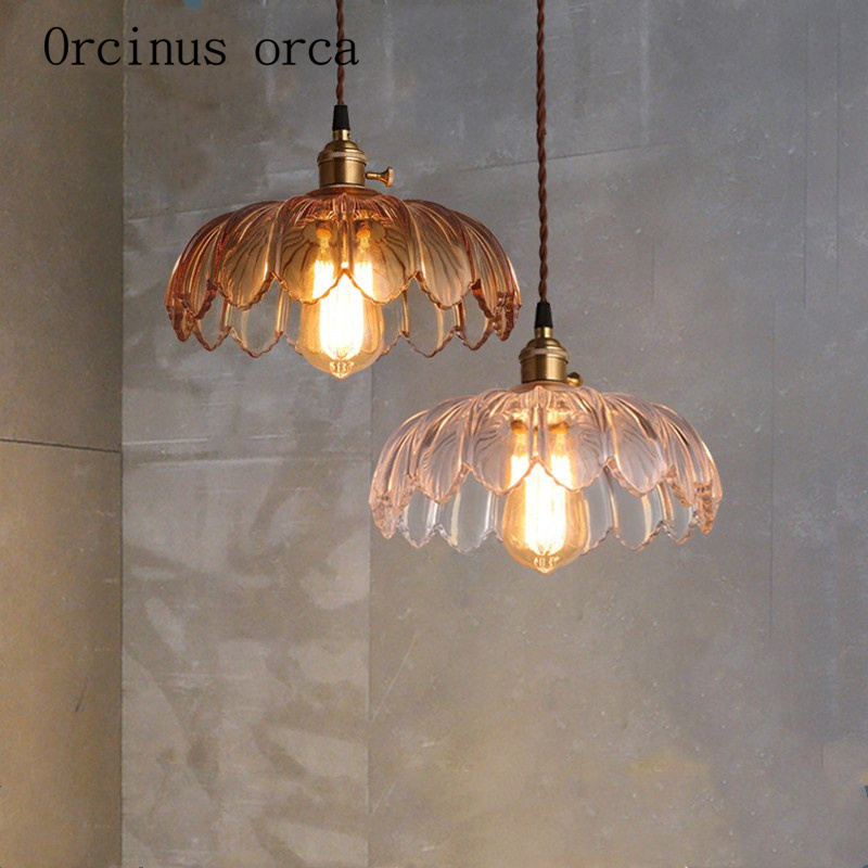 American Country Retro Crystal Glass Lotus Chandelier Cafe Restaurant Creative Romantic Single Head Chandelier Free Shipping