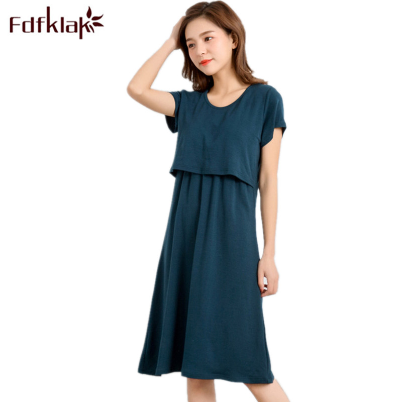 Fdfklak Women Nursing Clothes Sleepwear Breastfeeding 2018 Summer Short Sleeve Modal Maternity Homewear Dress For Feeding F189