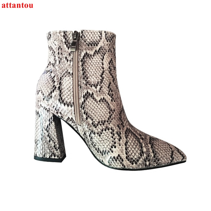 Gray Snakeskin Woman Short Boots 2018 Autumn Winter New Fashion Female Ankle Boots Zipper Pointed Toe Square Heel Women Shoes фен щётка panasonic eh ka22