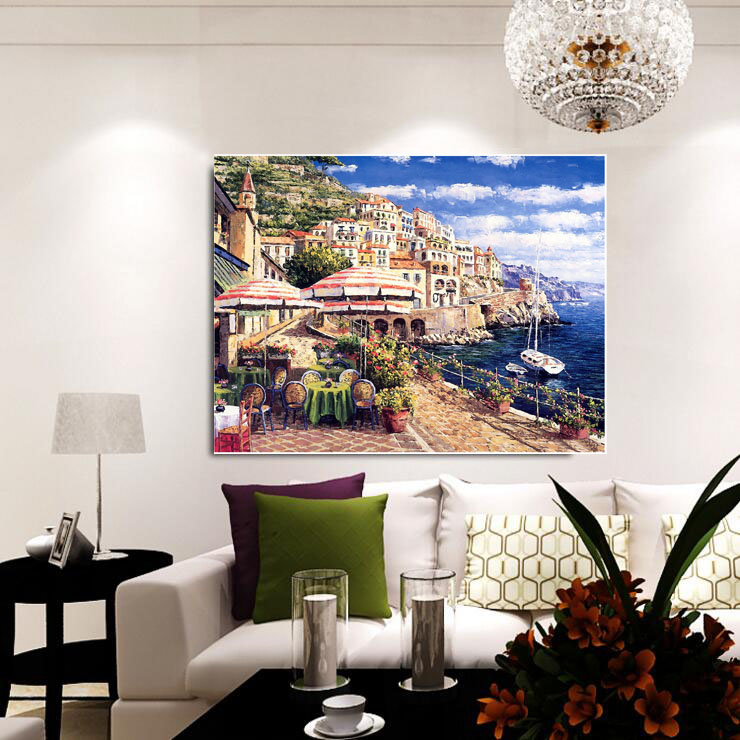 Hot Sale Canvas Printings Seaside Scenery 1 Pcs Oil Paintingwall Sticker Dining Room Decorative Paintings Wall